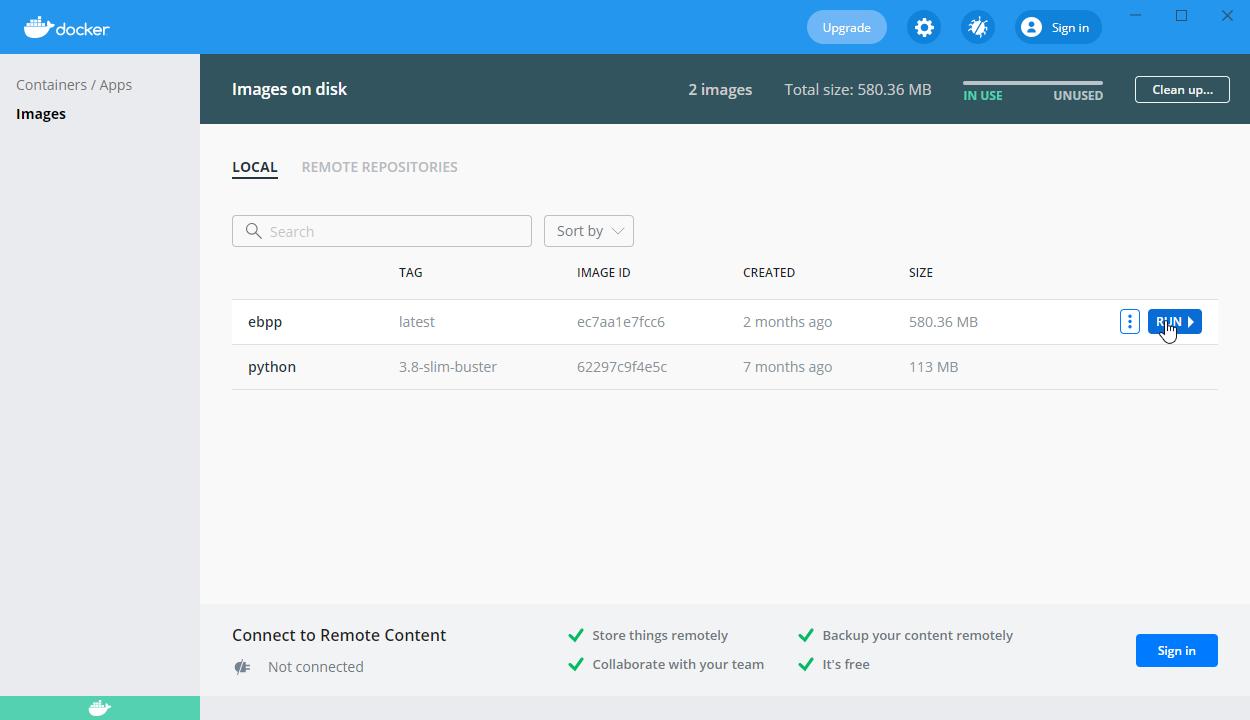 Docker Desktop Run Image